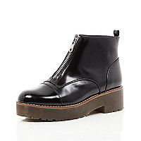 Black leather zip front chunky sole boots