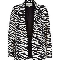 Black zebra print relaxed blazer