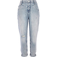 Light wash split knee Mom jeans