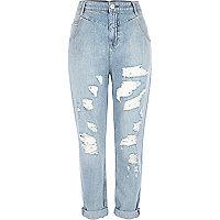 Light wash distressed Mom jeans