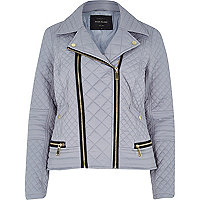 Grey padded quilted biker jacket
