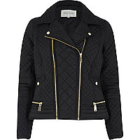 Black padded quilted biker jacket