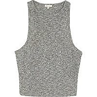 Grey marl ribbed crop top
