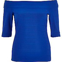 Blue bandage bardot top
