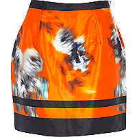 Orange graphic print mini skirt