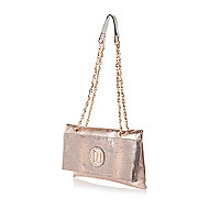 Gold fold over chain strap bag