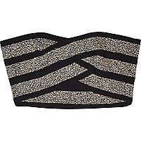 Black embellished bandage bandeau crop top