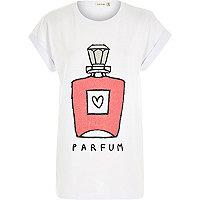 White perfume print oversized t-shirt