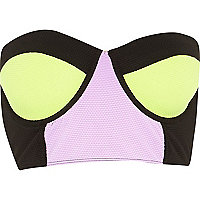 Lime colour block bustier bikini top