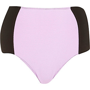Lime colour block high waisted bikini bottoms