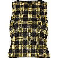 Yellow metallic check racer back crop top