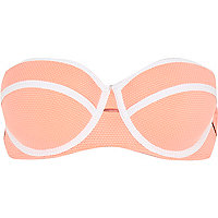 Orange piping bustier bikini top