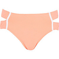 Orange textured bikini bottoms