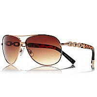 Gold tortoiseshell chain aviator sunglasses