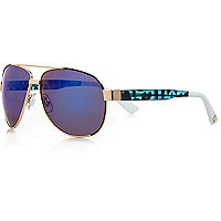 Gold blue mirrored aviator sunglasses
