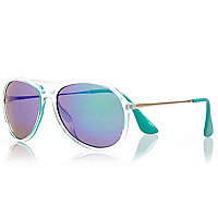 Clear tinted lens aviator sunglasses