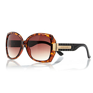 Brown tortoise shell chunky square sunglasses