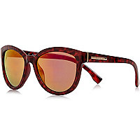 Red mirror lense cat eye sunglasses
