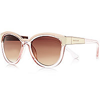 Light orange metal brow cat eye sunglasses