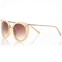 Orange sleek metal arm round sunglasses