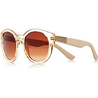 Orange clear round sunglasses