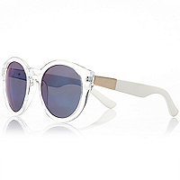 White transparent round sunglasses
