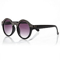Black metal brown round sunglasses