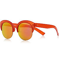 Red half frame cat eye sunglasses