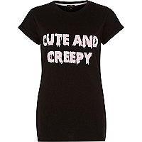 Black cute and creepy print t-shirt