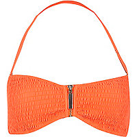 Orange ruched bandeau bikini top