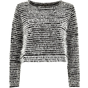 Black stripe fluffy knitted top