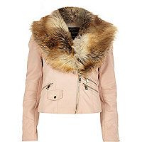 Light pink faux fur collar biker jacket