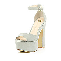 Grey peep toe platform sandals