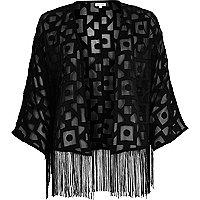 Black geometric print satin kimono