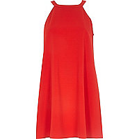 Red high neck swing dress