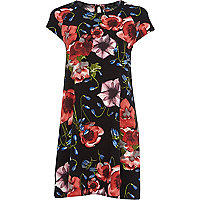 Black floral print swing dress