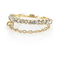 Gold tone diamante chain finger top ring