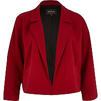 Dark red cropped unfastened jacket
