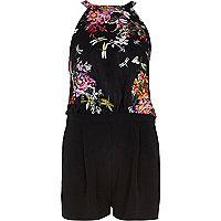 Black oriental floral print playsuit