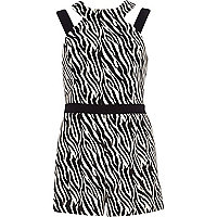 Black zebra print playsuit
