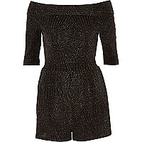 Black metallic bardot playsuit