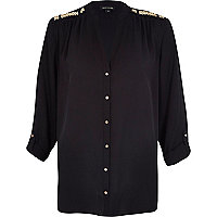 Black embellished roll sleeve shirt