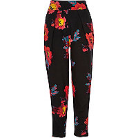 Black floral print high waisted trousers