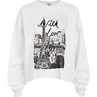 White love Paris print sweatshirt
