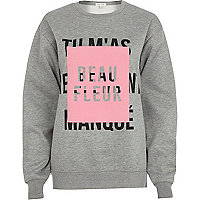 Grey beau fleur front print sweatshirt