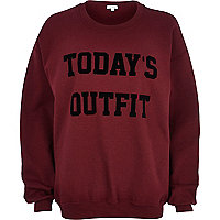 Red today's outfit print sweatshirt