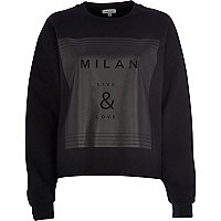 Black Milan live & love print sweatshirt