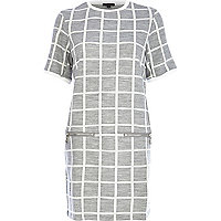 Grey grid check zip trim t-shirt dress