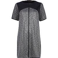 Grey metallic herringbone shift dress