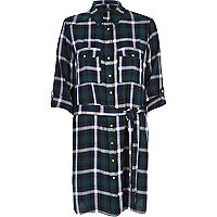 Green check print shirt dress